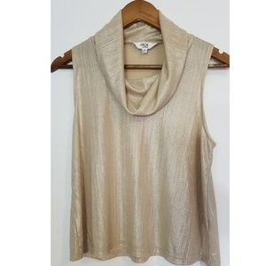 Gold Sleeveless Cowl Neck Blouse Size S